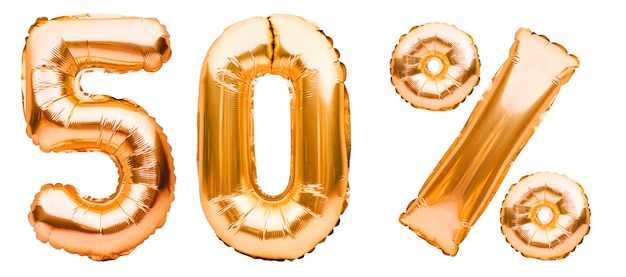 白で隔離される膨脹可能な風船で作られた黄金の50%記号。ヘリウム風船、金箔の数字。セール装飾、50%オフ