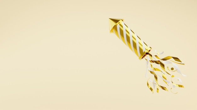 Golden firework with confetti 3d render illustration. gold and white striped flying rocket with sparkles isolated on white background for holiday celebration and congratulation.
