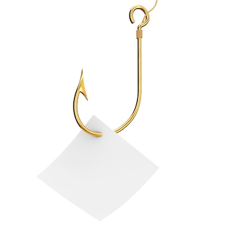 Golden fishing hook with blank note paper on a white background. 3d rendering.