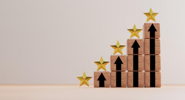 고객의 우수한 평가와 제품 서비스 개념에 대한 고객 평가를 위해 위쪽 화살표가 있는 나무 쌓기에 있는 황금색 별 5개.