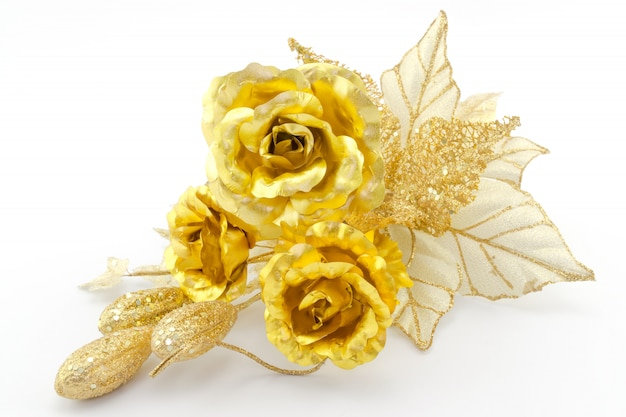 Golden flowers bouquet on white background.