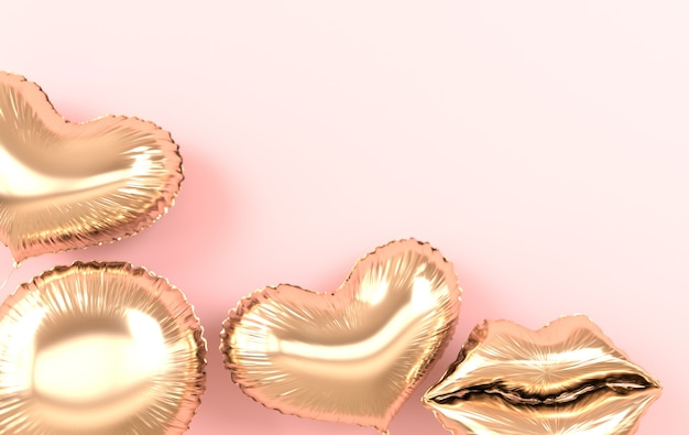 핑크 렌더링에 고립 된 황금 호 일 풍선