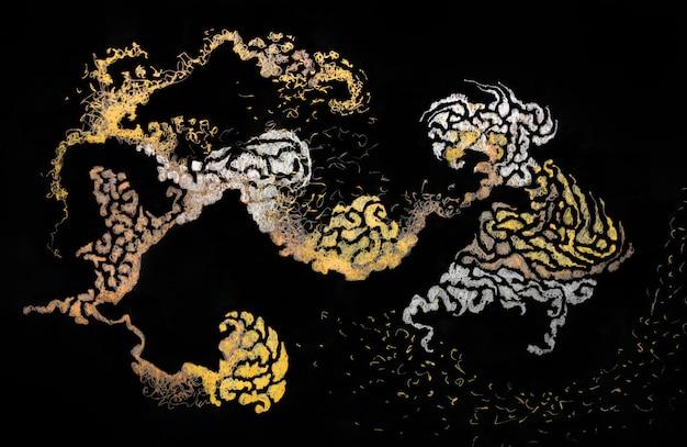 Golden foil japanese painting element. dark black background shiny gold metal luxury wallpaper flyer waves. light glow metal greeting card background illustration.