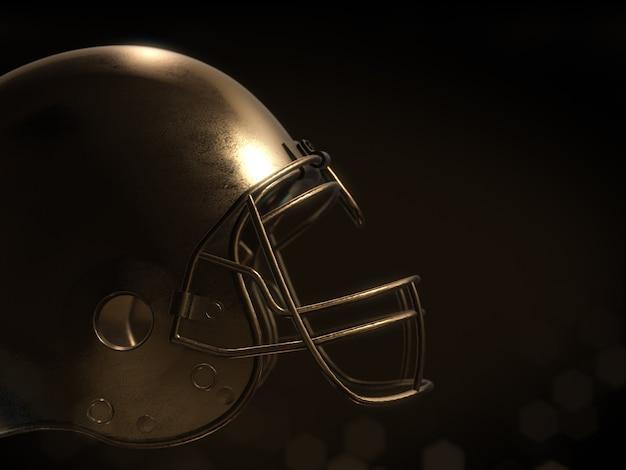 Golden football helmet isolate on dark background