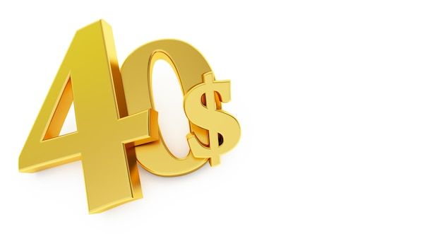 Golden forty dollar sign isolated