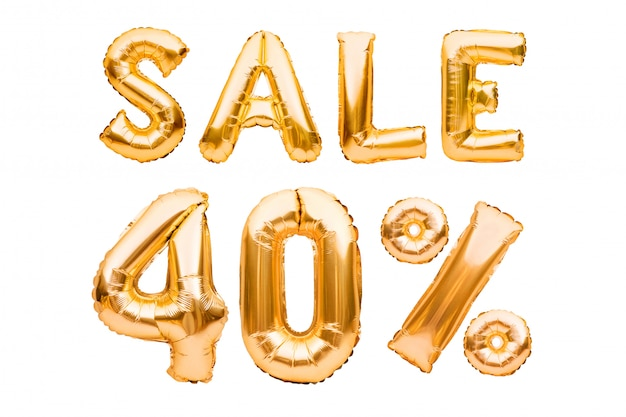 白で隔離される膨脹可能な風船で作られた黄金の40パーセントの販売サイン。ヘリウム風船、金箔の番号。