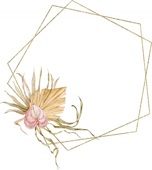 ゴールデンフレームは、水彩の熱帯の葉とアンスリウムの花で飾られました。エキゾチックなテンプレート。