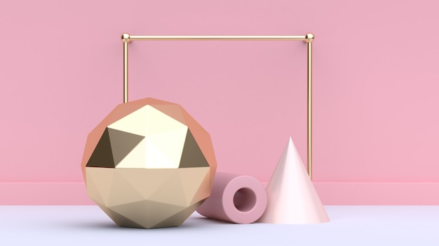 Golden frame and geometric figures 3d rendering