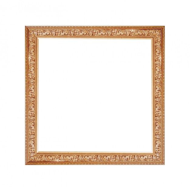 Golden frame for a picture on a isolated white background