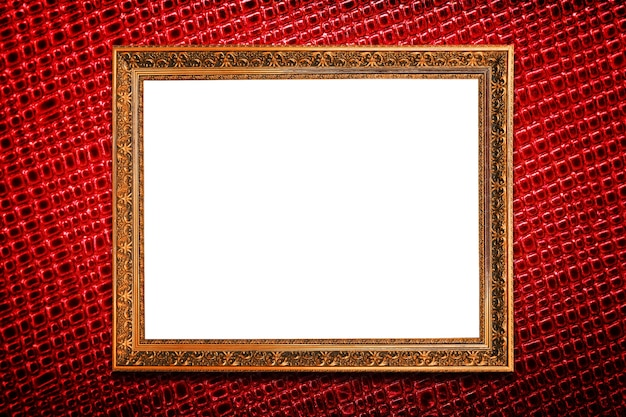 Golden frame on red texture background