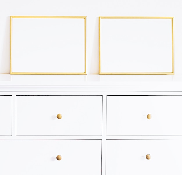 Golden frame on white furniture luxury home decor and design for mockup poster print and printable art online shop showcase