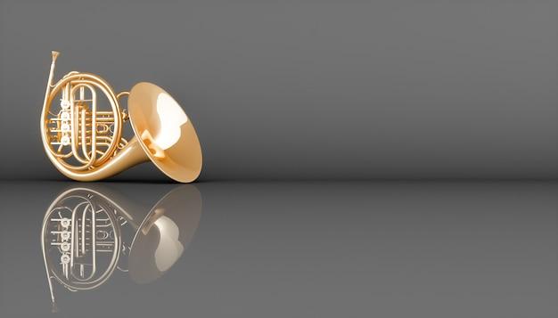 Золотой валторна на черном фоне, 3d иллюстрация