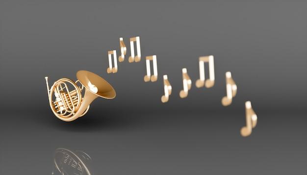 Золотой валторна на черном фоне, 3d иллюстрация Premium Фотографии