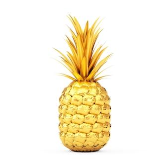 Золотые свежие зрелые тропические здоровые фрукты ананаса питания на белом фоне. 3d рендеринг