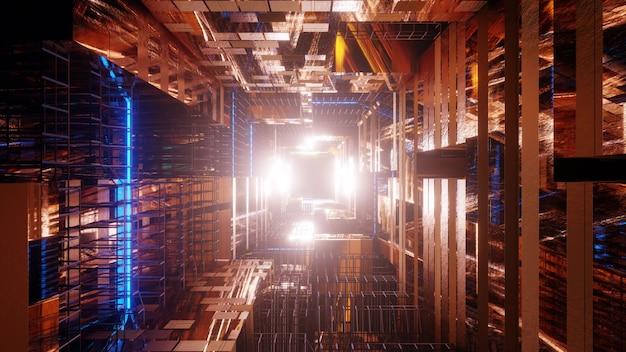 ネオンワイヤーフレームを備えた黄金の未来的なサイエンスフィクショントンネル