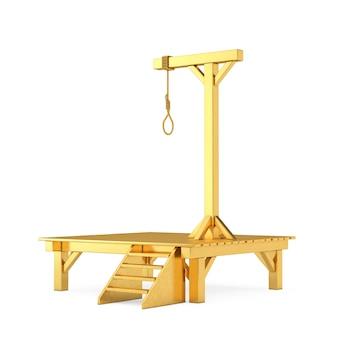 白い背景にぶら下がっている縄ロープ結ばれた結び目を持つ黄金の絞首台。 3dレンダリング