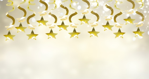 Golden garland with stars on festive gray background with copy space