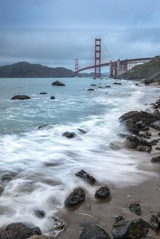 Golden gate bridge againt storm from pacific ocean