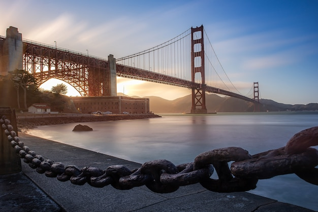 Golden gate bridge in the beautiful moment