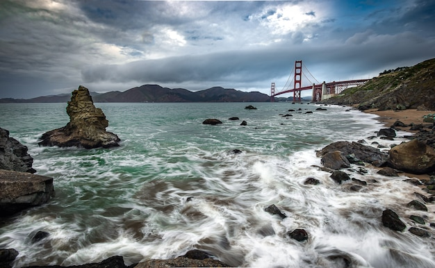 Golden gate bridge and pacific ocean in the beautiful moment