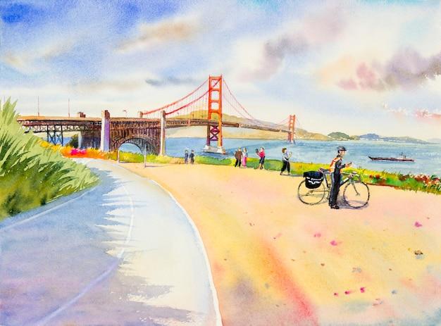 골든 게이트 브릿지. 미국 샌프란시스코 관광.