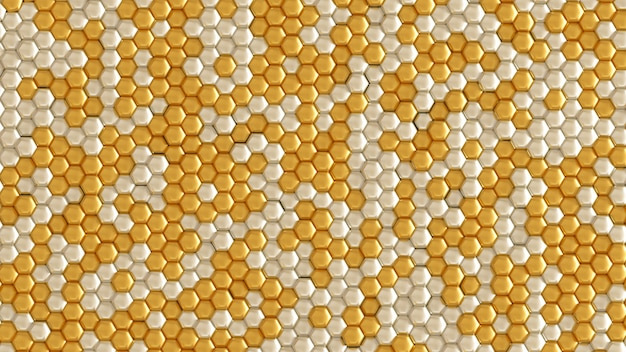 Golden geometric background with hexagons. 3d rendering.
