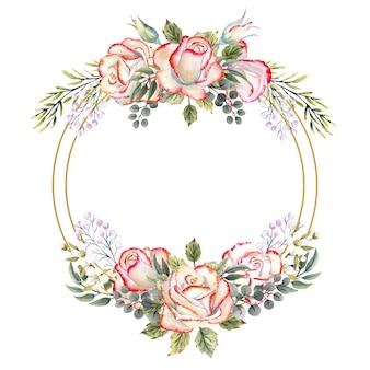 Золотая геометрическая рамка с букетом белых роз с листьями, декоративными веточками и ягодами. акварельные иллюстрации для логотипов, приглашений, поздравительных открыток