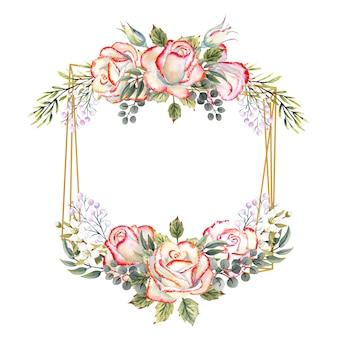 잎, 장식용 나뭇가지, 열매가 있는 흰색 장미 꽃다발이 있는 황금색 기하학적 프레임. 로고, 초대장, 인사말 카드 수채화 그림