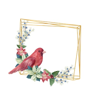 Golden geometric frame with winter d cor and red bird. watercolor christmas illustration