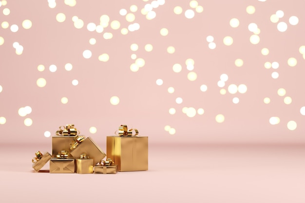 Golden gift box set on pink color background with lighting bokeh backdrop. 3d render. minimal christmas new year concept. selective focus.