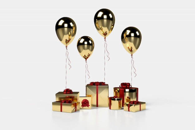 Golden gift boxes with balloons on background