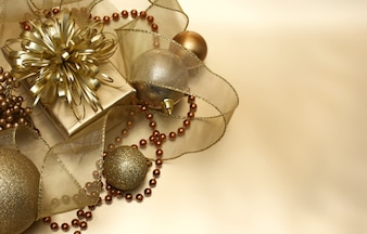 Golden gift with christmas balls