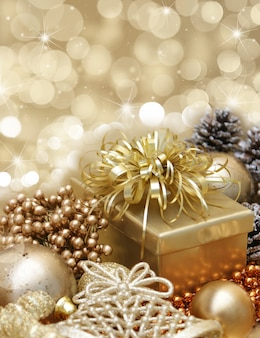 Golden gift with christmas ornaments