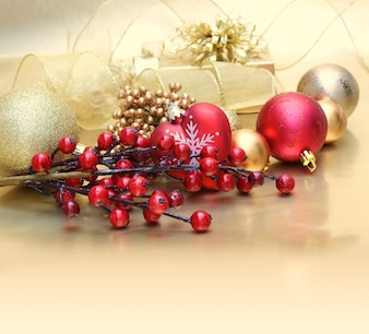 Golden gift with red berries