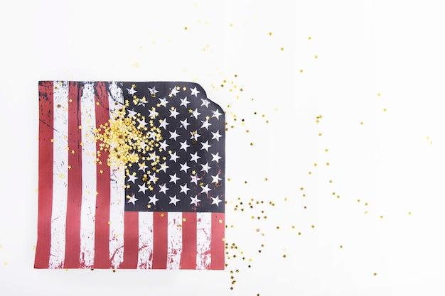 Golden glitter on american flag