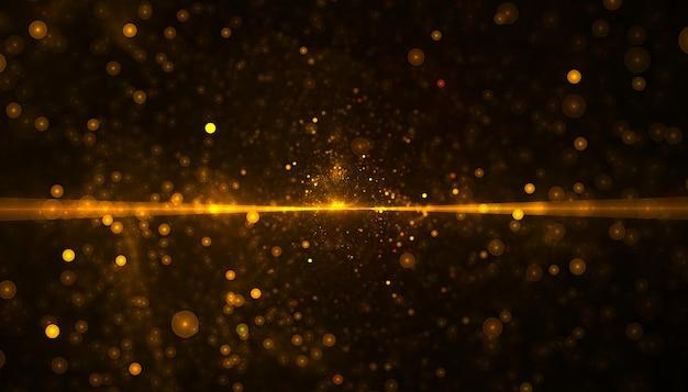 光のビームと金色のキラキラ粒子
