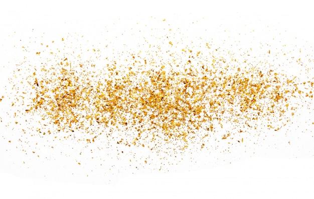 Golden glitter texture on white abstract