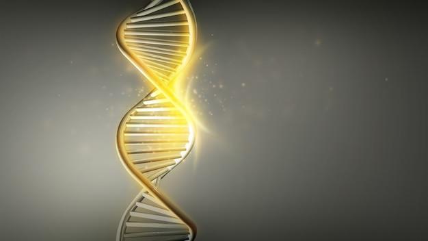 Golden glow of dna strands double helix d render
