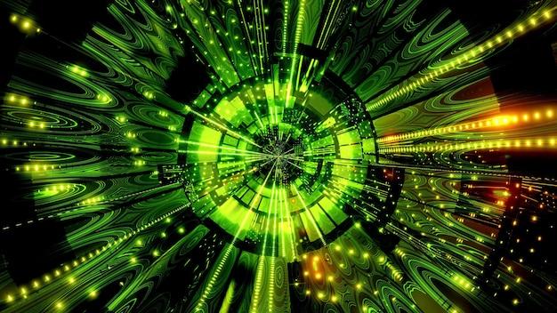 Golden green 4k uhd reflections science fiction tunnel 3d illustration