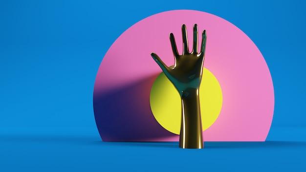 Golden hand on bullseye