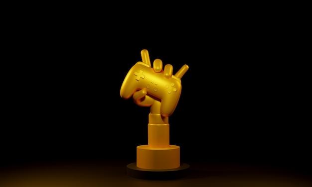 Золотая рука держит трофей беспроводного джойстика