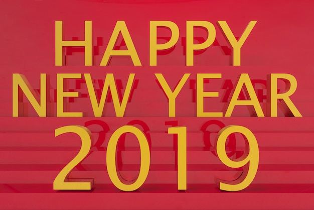 Golden happy new year 2019 letter word on red stair wall background.
