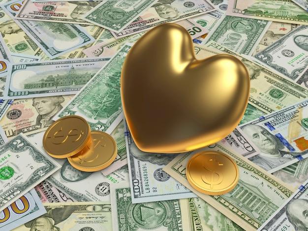 Golden heart on dollar bills