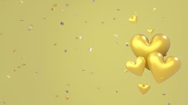 周りに紙吹雪で飾られた金の背景に浮かぶ黄金の心。 3dイラスト。 3dレンダリング
