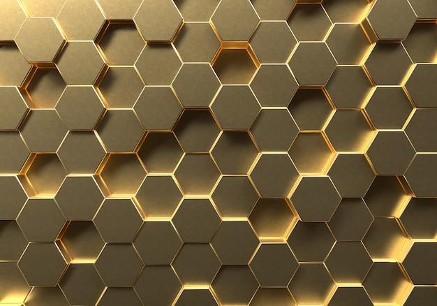 황금 육각형 벌집 배경