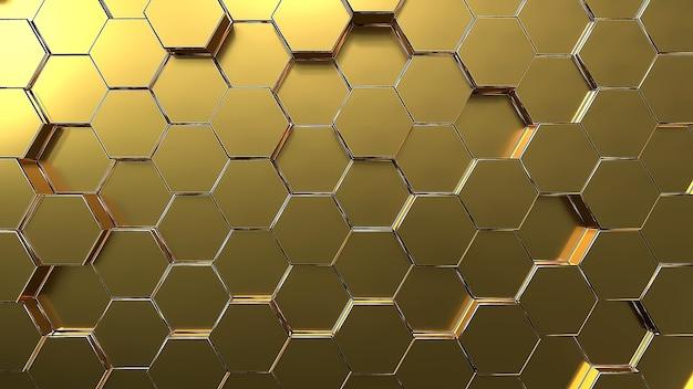 황금 육각형 벌집 운동 배경입니다.