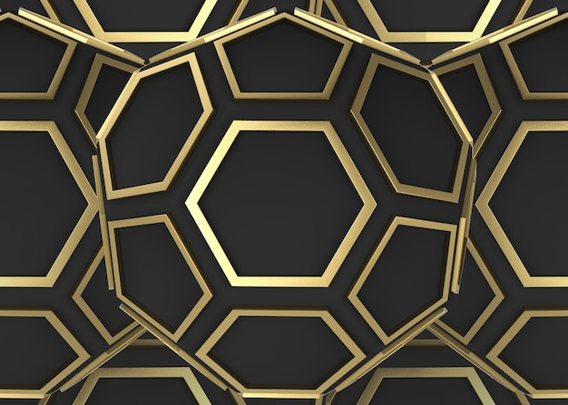 Golden hexagon and pentagon shape on dark wall background