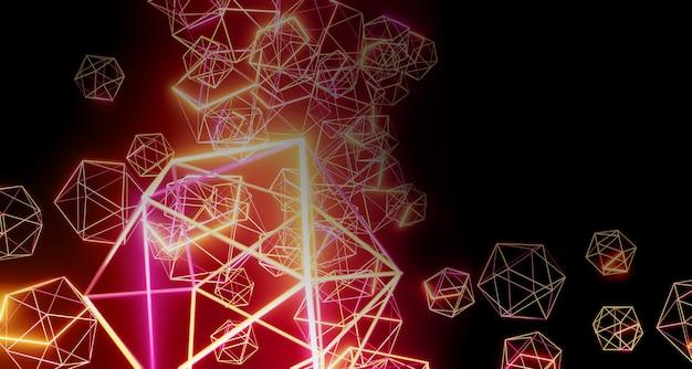 검은 바탕에 황금 육각 구조 기하학적 광선