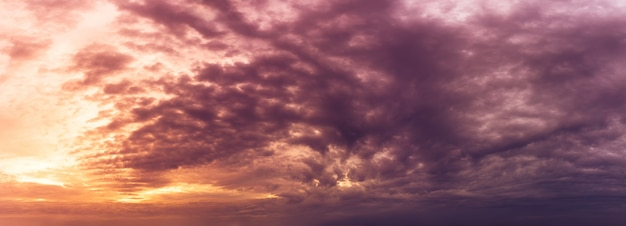 Golden hour sky and storm cloudy nature panoramic