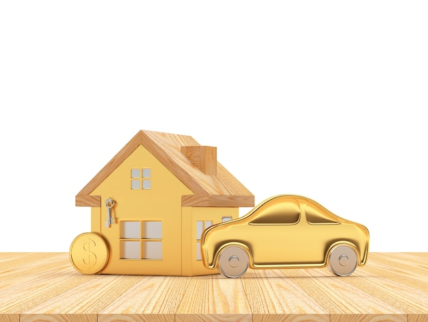 Golden house and car icons with coin